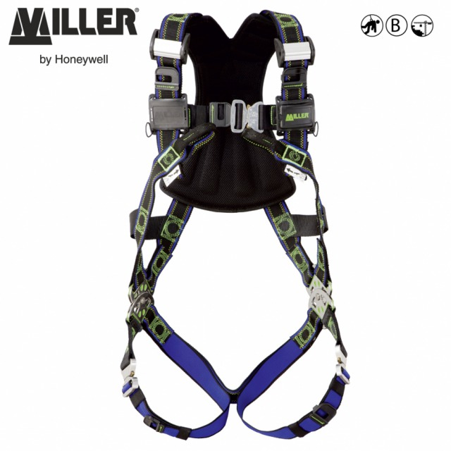 MILLER REVOLUTION COMFORT R2<br/><br/>Quick fitting harness with 8 unique innovations<br/><br/>- 2 POINT<br/><br/>Dorsal D-ring and front anchorage loopss<br/><br/>BENEFITS: Conforms to users movements<br/><br/>•  Rotating PivotLink connections at waist level<br/><br/>•  Full freedom of movement<br/><br/>• Integrated accessories system<br/><br/>• Custom identification labelsu<br/><br/> FEATURES: Turning point  in design<br/><br/>• Elasticated DuraFlex® webbing*<br/><br/>• ErgoArmor™ padded back shield<br/><br/>• Quick fixing Cam buckles for easy fit<br/><br/>• Quick connect buckles at chest & leg<br/><br/>• Web finials to store spare webbing<br/><br/>• Self-contained label pack<br/><br/>Ref.                       Size<br/><br/>DuraFlex® stretch webbing<br/><br/>- 10 142 36 -  S/M<br/><br/>- 10 142 37  -  L/XL<br/><br/>- 10 142 38  -  XXL**<br/><br/>DualTech webbing<br/><br/>- 10 142 39  -  S/M<br/><br/>- 10 142 40  -  L/XL<br/><br/>- 10 142 41  -  XXL**<br/><br/>Conforms to EN361