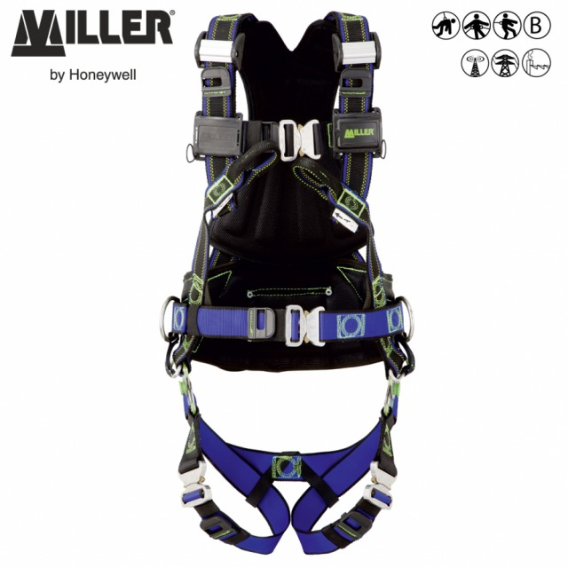 MILLER REVOLUTION PREMIUM R5<br/><br/>Smoother movement when ascending or descending<br/><br/>- 2 POINT + workpositioning<br/><br/>Dorsal D-ring front anchorage loops and workpositioning belts<br/><br/>BENEFITS: Stretch to users movements<br/><br/>• Rotating PivotLink™ connections at hip level<br/><br/>• Easy movement for ascent or descent<br/><br/>• Full freedom of movement<br/><br/>• Custom identification labels<br/><br/>• Rotating work positioning belt for hands freeu<br/><br/>FEATURES: Reduce user fatigue<br/><br/>• Elasticated DuraFlex® webbing* stretches to users movements<br/><br/>• ErgoArmor™ padded back shield<br/><br/>• Shoulder CAM buckles for easy fit<br/><br/>• Quick Connect Buckles at legs, belt & chest<br/><br/>• Web finials to store spare webbing<br/><br/>• Self-contained label pack<br/><br/>• Integrated accessories system<br/><br/>Ref.                         Size<br/><br/>DuraFlex® webbing<br/><br/>- 10 142 51 - S/M<br/><br/>- 10 142 52 - L/XL<br/><br/>-  10 142 53 - XXL**<br/><br/>DualTech webbing<br/><br/>- 10 142 54 - S/M<br/><br/>- 10 142 55 - L/XL<br/><br/>- 10 142 56 XXL**<br/><br/>Conforms to EN361 and EN358