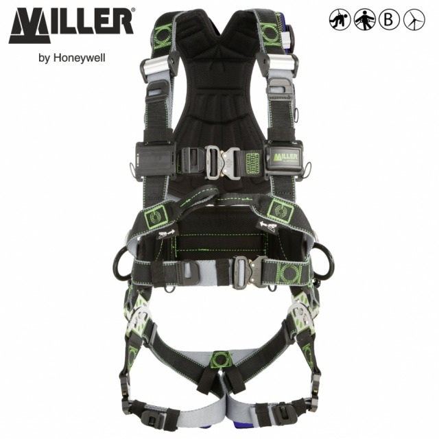 MILLER REVOLUTION R7 OFFS<br/><br/>Designed for highly corrosive offshore and coastal environments including wind energy and petrochemical industries<br/><br/>- 2 POINT + workpositioning<br/><br/>Front and rear anchorage (front webbing loops) and workpositioning side D-ringss<br/><br/>BENEFITS: High corrosion resistance and reinforced harness<br/><br/>•  Protection with PVC coating on back and sides D rings<br/><br/>• Fall indicator at dorsal D pad<br/><br/>• Stand up D function for easy connection<br/><br/>•  Stitched A security marking for anchorage at back and chest points<br/><br/>• Foldable side D-ring<br/><br/>•  Additional elastic keepers on shoulder strap<br/><br/>•  Longer stitching on the belt pad for greater strength<br/><br/>•  Custom identification labels on back housing<br/><br/>• Back Pad with V shape<br/><br/>• Self contained label pack<br/><br/>FEATURES: High resistant components<br/><br/>• 316 L Stainless steel PivotLink™<br/><br/>• DualTech™ polyamide/polyester webbing<br/><br/>• ErgoArmor™ padded back shield<br/><br/>• Positioning belt<br/><br/>•  Automatic buckles on legs straps, belt  & chest strap in anodized aluminium<br/><br/>•  Shoulder aluminium CAM buckle adjustment for easy fit<br/><br/>• Back tool rings<br/><br/>•  Available in 3 sizes according US  size chart<br/><br/>Ref.                         Size<br/><br/>- 10 148 07/offS - S/M<br/><br/>- 10 148 08/offS - L/XL<br/><br/>- 10 148 09/offS - XXL<br/><br/>Multi standards compliance:  CE, ANSI/OSHA, CSA, AS/NZS
