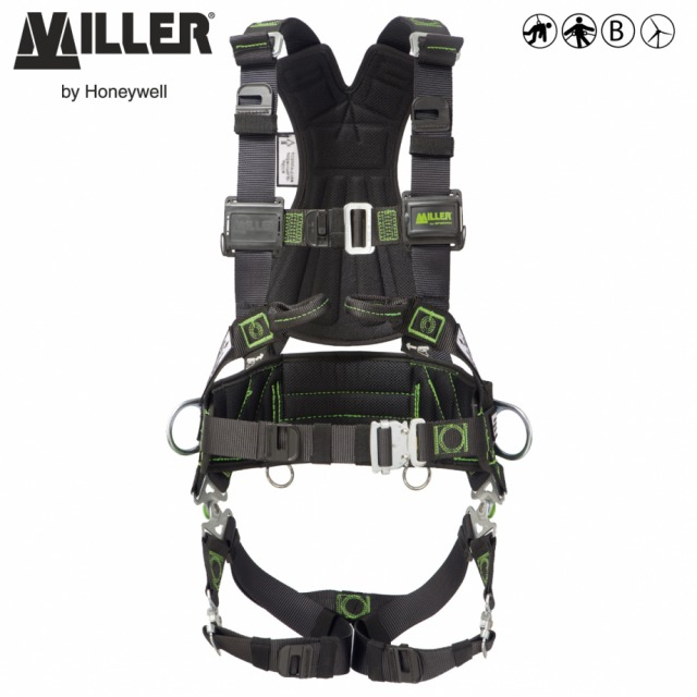 MILLER REVOLUTION R7 WIND<br/><br/>Ideal for work at height on onshore wind energy applications<br/><br/>- 2 POINT + workpositioning<br/><br/>Front and rear anchorage (front webbing loops) and workpositioning side D-ringss<br/><br/>BENEFITS: High safety and comfort level<br/><br/>• Fall indicator at dorsal D pad<br/><br/>• Stand up D function for easy connection<br/><br/>•  Stitched A security marking for anchorage at back and chest points<br/><br/>•  Longer stitching on the belt pad for greater strength<br/><br/>• Back pad with 'V' shape<br/><br/>•  Additional elastic keepers on shoulder strap<br/><br/>•  Custom identification labels on back housing<br/><br/>• Self contained label pack<br/><br/>FEATURES: Comfort  and durability<br/><br/>• Galvanised steel Pivot Link™<br/><br/>• Polyester webbing<br/><br/>•  Shoulder strap adjustment  with mating buckle<br/><br/>• Chest strap mating buckle<br/><br/>•  Automatic steel quick connect buckle  on legs and waist strap<br/><br/>• Positioning belt• ErgoArmor™ padded back shield<br/><br/>• Back tool rings<br/><br/>•  Available in 3 sizes according US  size chart<br/><br/>Ref.                            Size<br/><br/>- 10 148 07/WIND - S/M<br/><br/>- 10 148 08/WIND - L/XL<br/><br/>- 10 148 09/WIND - XXL<br/><br/>Multi standards compliance:  CE, ANSI/OSHA, CSA, AS/NZS