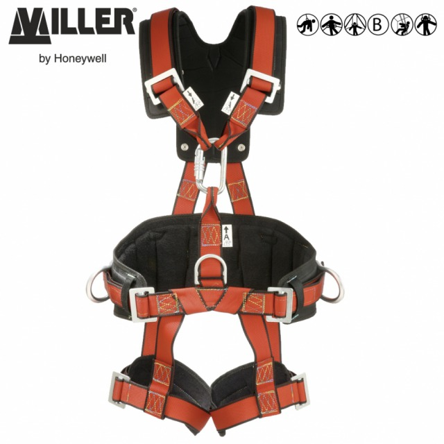 TOWER               <br/><br/>Heavy-duty harness, designed for excellent comfort and support<br/><br/>3 POINT + workpositioning<br/><br/>Rear and front anchorage (karabiner for fall arrest and ventral D-ring for access work) and workpositioning side D-rings<br/><br/>BENEFITS<br/><br/>• Belt and sit harness function<br/><br/>• Belt prevents back injuries and promotes productivity<br/><br/>FEATURES<br/><br/>• Ventral anchorage point for work in suspension<br/><br/>• high-quality, resistant webbing for increased durability<br/><br/>• Work-positioning belt<br/><br/>• Padded leg straps for enhanced comfort during suspension work<br/><br/>• Back and shoulder pads<br/><br/>Ref.                 Size<br/><br/>- 10 117 70  - S<br/><br/>- 10 062 55  - M<br/><br/>Conforms to EN361, EN358 and EN813