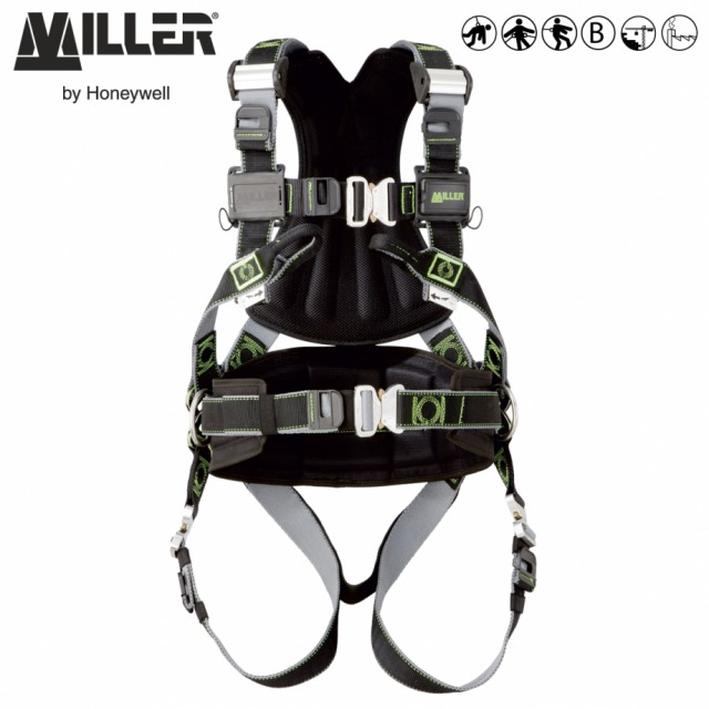MILLER REVOLUTION PREMIUM R3<br/><br/>Eergonomic fit when bending or crouching<br/><br/>2 POINT + workpositioning<br/><br/>Dorsal D-ring front anchorage loops and workpositioning belts<br/><br/>BENEFITS: Quick fitting harness<br/><br/>• Rotating PivotLink™ connections at waist level<br/><br/>• Easy fit when bending or crouching<br/><br/>• Full freedom of movement<br/><br/>• Custom identification labels<br/><br/>• Fixed work positioning belt<br/><br/>FEATURES: Easy adjustment<br/><br/>• Dualtech™ webbing with shape retention memory<br/><br/>• ErgoArmor™ padded back shield<br/><br/>• Shoulder CAM buckles for easy fit<br/><br/>• Quick Connect Buckles at legs, belt & chest<br/><br/>• Web finials to store spare webbing<br/><br/>• Self-contained label pack<br/><br/>• Integrated accessories system<br/><br/>Ref.                  Size<br/><br/>DualTech webbing<br/><br/>- 10 142 42  - S/M<br/><br/>- 10 142 43  - L/XL<br/><br/>- 10 142 44 XXL**<br/><br/>Conforms to EN361 and EN358