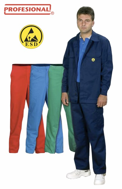 ESD Protective Clothing Profesional Antistatic<br/><br/>Materials:<br/><br/>- 50% polyester, 48% cotton, 2% metal fibre (10 mm x 10 mm grid)<br/><br/>- 39% polyester, 59% cotton, 2% carbon fibre (5 mm x 5 mm grid)<br/><br/>- 97% polyester, 3% carbon fibre (5 mm x 5 mm grid)120 g/m2- 240 g/m2<br/><br/>Catalog Nr.: 025 300 (jacket)<br/><br/>Catalog Nr.: 025 100 (pants)