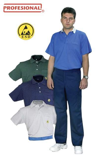 ESD Polo Shirts<br/><br/>Short Sleeve<br/><br/>Material: 96% cotton, 4% carbon fibre, 160 g/m2<br/><br/>Catalog Nr.: 025 411
