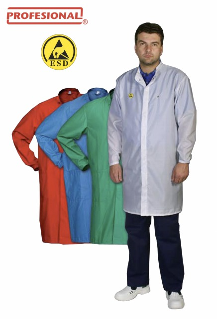 ESD Protective Lab Coat Sting<br/><br/>Materials:<br/><br/>- 50% polyester, 48% cotton, 2% metal fibre (10 mm x 10 mm grid)<br/><br/>- 39% polyester, 59% cotton, 2% carbon fibre (5 mm x 5 mm grid)<br/><br/>- 97% polyester, 3% carbon fibre (5 mm x 5 mm grid)120 g/m2- 240 g/m2<br/><br/>Catalog Nr.: 025 412